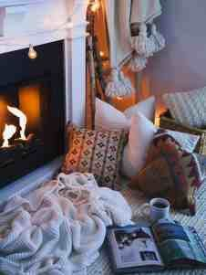 28 Extremely Cozy Fireplace Reading Nooks For Curling Up In 50 Sensational stone fireplaces to warm your senses Cozy Family Rooms, Cozy Living Spaces, Cozy Fireplace, Living Room With Fireplace, Fireplace Ideas, Cozy Library, Home Library Design, Home Libraries, Cozy Nook