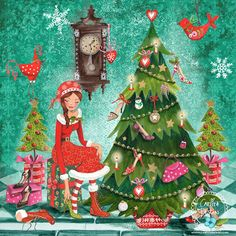 Christmas Holiday Illustration & Products by Caroline Bonne-Muller at Cartita Design Christmas Love, Christmas Pictures, Winter Christmas, Vintage Christmas, Illustration Noel, Christmas Illustration, Illustrations, Christmas Greeting Cards, Christmas Greetings