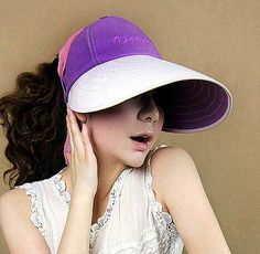 White and purple color block sun hat for women wide brim summer hats