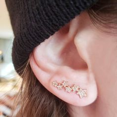 Ear Crawlers Seven Crystals 14K Yellow Gold Plated Curved Vine Bar Earrings Cuff Rhinestone Climber Pins