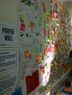 What an awesome prayer wall... might just be sticky notes I'm obsessed with but seriously, great idea!