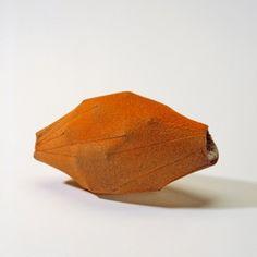 Christine Graf, orange vessel, enamel on copper