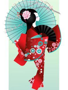 Art And Illustration, Illustrations, Japanese Origami, Japanese Art, Art Geisha, Art Chinois, Art Asiatique, Art Japonais, Kokeshi Dolls