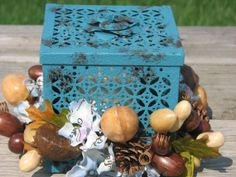 https://www.etsy.com/treasury/MTg3NzM2Mzh8MjcyNDgyMTc4OA/fall-is-on-its-way Blue one of a kind shabby chic metal box by TheVineDesigns on Etsy, $26.95