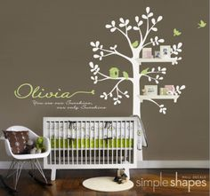 Shelving Tree Nursery Wall Decal ( brown tree with green background)