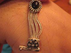 Art Deco Sterling Silver & Onyx Antique Bracelet Estate Vintage Hallmarked 7 1/8