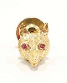 14k Solid Gold Fox Pin Ruby Eye Detail Tie Tack Beautiful Animal Free Shipping e
