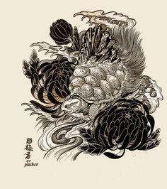 Turtle Tattoo Designs, Japanese Tattoo Designs, Tiger Illustration, Japanese Illustration, Hand Tattoos, Sleeve Tattoos, Cool Tattoos, Tortoise Tattoo, Ouroboros Tattoo