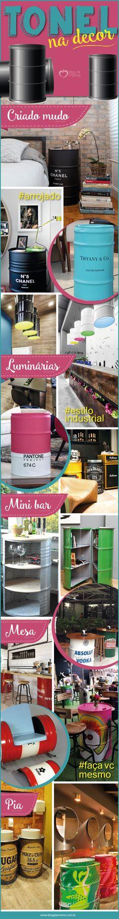 Maneiras criativas de usar tonel na decoração - Blog da Mimis #tonel #decor #barril #home #casa #inspiracion #blogdamimis