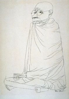 Gandhi by Ben Shahn A work from the collections of the de Young and Legion of Honor museums of San Francisco, CA. Walker Evans, Artist Painting, Painting & Drawing, Ben Shahn, Ligne Claire, Art Moderne, American Artists, Les Oeuvres, Line Art
