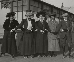 Mystery writer Agatha Christie (center) and friends in their roller skating outfits at Princess Pier in Torquay, circa 1910. Photo courtesy of Mathew Prichard.