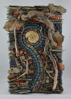 Karen Klassen (Edmonton, AB) is a visual mixed media artist creating wall art & pocket art mosaics using organic and exotic materials from around the world. Pebble Mosaic, Stone Mosaic, Mosaic Art, Mosaic Glass, Mosaic Mirrors, Driftwood Sculpture, Driftwood Art, Found Art, Marble Art