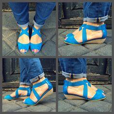@ysasuparis #compensée #SS14 #Leathershoes #compensée #color #blue #Paris #yellowline #liseretjaune  www.ysasu.com