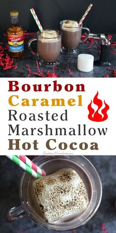 What's better than a mug of hot cocoa in front of a roaring fire on a cold Winter's night? Not much, but this Bourbon Caramel Roasted Marshmallow hot cocoa recipe can certainly kick it up a notch.  [ad] @Torani #FlavorSplash @Walmart