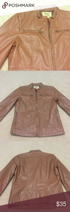 Faux Brown Leather Jacket Only worn once! Great condition! Purchased from Macy's. First picture is not of actual jacket- just used for styling ideas. Maralyn & Me Jackets & Coats