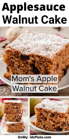 Moist and delicious, this old-fashioned applesauce cake is an irresistible favorite baked from scratch. This simple, homemade classic is filled with the perfect amount of spices, sugar,  applesauce, cinnamon, walnuts, and raisins for the perfect cozy but still easy dessert. This cake is just like grandma used to make, homemade and perfect for fall. #applesaucecake #applecake #oldfashionedrecipe Apple Walnut Cake Recipe, Applesauce Cake Recipe, Baking With Applesauce, Homemade Applesauce, Apple Cake, Pound Cake Recipes, Easy Cake Recipes, Easy Desserts, Baking Recipes