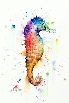 Watercolor Horse, Watercolor Sea, Watercolor Animals, Watercolor Paintings, Watercolor Tattoos, Animal Drawings, Art Drawings, Aquarell Tattoos, Happy Paintings