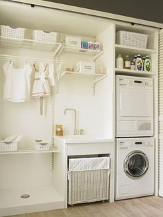 70 drying room design ideas that you can try in your home page 35 Laundry Room Cabinets, Basement Laundry, Small Laundry Rooms, Laundry Closet, Laundry Room Organization, Laundry Room Design, Laundry In Bathroom, Ikea Laundry, Storage Room