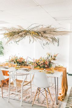 Spring Fever inspired styled shoot at La Piñata Feathered Arrow Events using orange, pink and yellow in your wedding, wildflower hanging installation and centerpieces Inexpensive Centerpieces, Wedding Table Centerpieces, Wedding Tables, Flower Decorations, Wedding Decorations, Centerpiece Flowers, Gregor Lersch, Mustard Wedding, Party