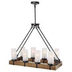 LNC Wood Chandeliers Kitchen Island Chandelier Lighting 8-light Pendant Lights