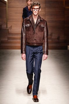 Salvatore Ferragamo | Fall 2014 Menswear Collection - brown leather & suede jacket, navy blue pants.