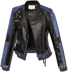 Kurtka damska Skóra + Jeans #101 FASHIONAVENUE.PL