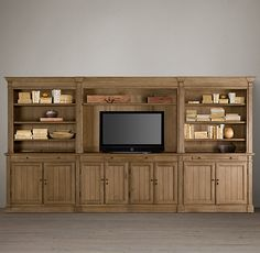 RH's Library Large Media System:Our solid oak media system is constructed with the same care as a custom built-in.