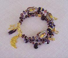 Boho pulsera, joyería de Bohemia, abalorios pulsera, joyería púrpura, gitana