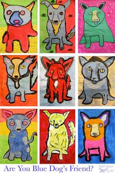 I love the work of George Rodrique and I think this could be adapted to for second grade art. Just have to find the time!