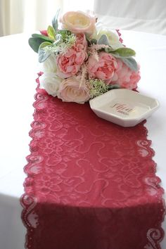 BURGUNDY LACE Table runner wide Ft length/Cut lace not hemmed/ /Free Sample swatch/burgundy wedding decor/ Burgundy runner Lace Runner, Lace Table Runners, Navy Lace, White Lace, Burgundy Table Runner, Valentines Day Weddings, Burgundy Wedding, Event Decor, Lace Trim