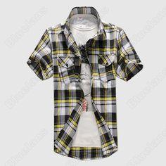 Discount China china wholesale Mens Slim Fit Casual T-Shirt Plaid Check Dress Short Sleeve Vintage Shirts 030 [30312] - US$13.11 : DealsChic