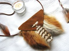 Fox and Deer Medicine Bag with Deer Tooth by SpiritsOfTheEarth
