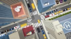 Bird's-eye Aerial View Of City Traffic. Cartoon Style 3d Animation. Stock Footage Video 17911747 - Shutterstock