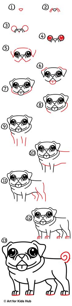 How to draw a pug! More easy drawings How To Draw A Pug - Art For Kids Hub - Art For Kids Hub, Dog Steps, Pug Art, Step By Step Drawing, Drawing For Kids, Drawing Drawing, Fire Drawing, Number Drawing, Drawing Stuff