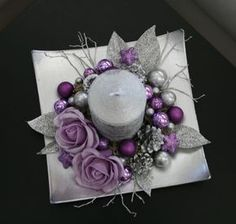 Vánoční svícínek - fialovostříbrný / Zboží prodejce jircice | Fler.cz Christmas Advent Wreath, Diy Christmas Decorations For Home, Xmas Wreaths, Christmas Candles, Noel Christmas, Christmas Centerpieces, Holiday Crafts, Art Floral Noel, Purple Christmas
