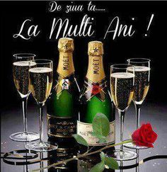 Felicitare De ziua ta sticle cu sampanie si pahare Happy Birthday Greetings Friends, Happy Birthday Woman, Happy Birthday Messages, Moet Chandon, 21st Birthday Cards, Vintage Champagne, Champagne Bottles, Happy B Day, Alcoholic Drinks