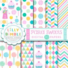 40% off Pastel Sweets digital papers, candy, cupcakes, lollipops, scrapbooking paper, pink, Instant Download
