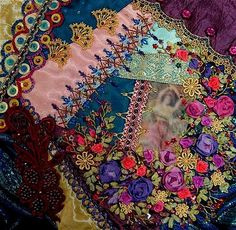 Beautiful patchwork quilting.  Simply gorgeous.