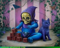 Aww, baby Skeletor and Panthor