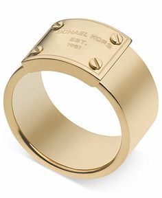 d7c111a93b4b7 Michael Kors Gold-Tone Logo Plate Ring Jewelry   Watches - Fashion Jewelry  - Macy s