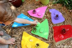 Spring Preschool Activities:  Painted Stepping Stone Color Matching Game