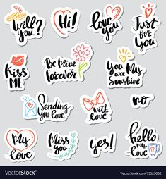Set stickers calligraphy love design vector image on VectorStock Tumblr Stickers, Love Stickers, Craft Stickers, Printable Planner Stickers, Journal Stickers, Scrapbooking Stickers, Paper Bag Scrapbook, Doodle Art Letters, Planner Stickers