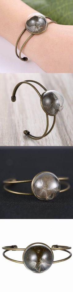 Bronze natural plant glass dandelion bracelet for women ashley b bracelets #bracelets #braided #bracelets #f #bracelets #on #amazon #bracelets #with #beads