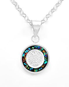 Aztec calendar silver green inlaid opal pendant taxco mexico two sided mesoamerican opal aztec calendar pendant jewelry taxco mexico handmade azteccalendar aloadofball Image collections
