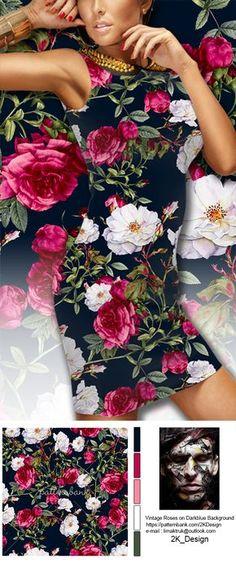 Vintage Roses on Darkblue Background / Seamless Vintage Roses Pattern on Grunge…