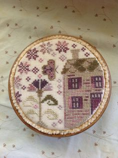 Hand Stitched House Design on Vintage Hand Turned Wooden Base