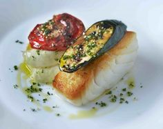 Roast cod with olive oil mash and gremolata at Chez Bruce Fish Recipes, Seafood Recipes, Gourmet Recipes, Cooking Recipes, Gourmet Desserts, Gourmet Foods, Bar Recipes, Frozen Desserts, Plated Desserts