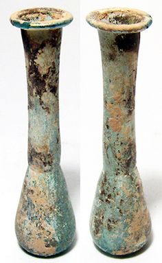 "Holy Land, Roman period, c. 1st Century AD. Beautiful blue-green glass ""tear vial""."