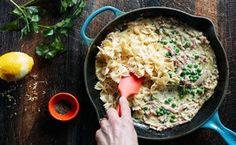 15-Minute Ham, Pea and Cream Sauce / Photo by Chelsea Kyle, Food Styling by Mindy Fox Use pancetta and orcciette