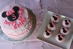 Minnie Mouse Cake and cupcakes.